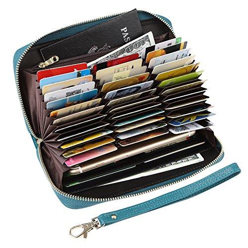 Womens RFID Blocking 36 Slots Card Holder Long Big Leather Zipper Wristlet Clutch Wallet
