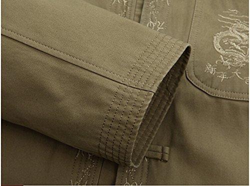 Drago Di La Lungo Vestito Uniformi Gli Cotone Di Uomini Jersey Abbigliamento Luce Chi Verde Tai Tradizionale Per Ricamato Marziali Cinese Giacca Fu Linguetta Arti Zooboo Cime Giacca Kung U54qq
