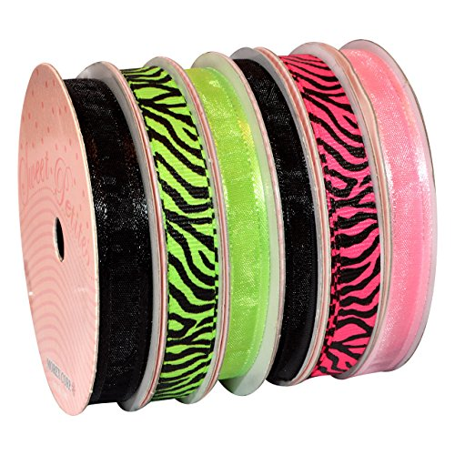 Morex Ribbon 6-Pack Polyester/Nylon Sweet Petite Ribbon, Neon Animal, 50-Yd