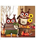 LTD Happy Autumn Harvest Set of 2 Girl Boy Owls Plush Decoration Fall Home Decor