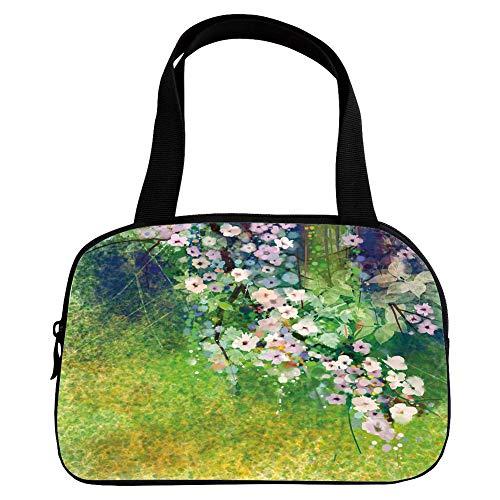 iPrint Increase Capacity Small Handbag Pink,Flower Home Decor,Traditional Japanese Cherry Blossom Sakura Tree Petals Grass Land Paint,Pink Green,for Girls,3D Print Design.6.3