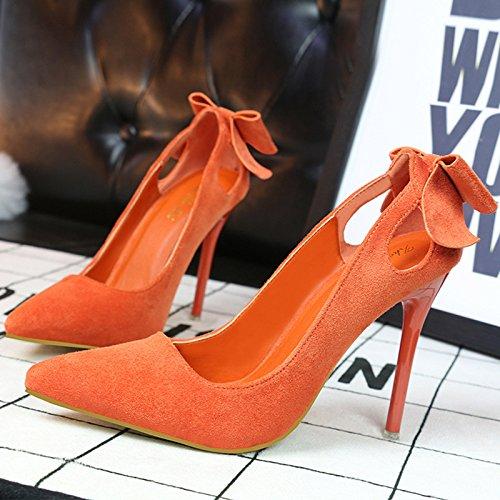 Arco Asakuchi zapatos de tacón alto dulce zapatos con tacón alto de fina gamuza señaló hollow Orange