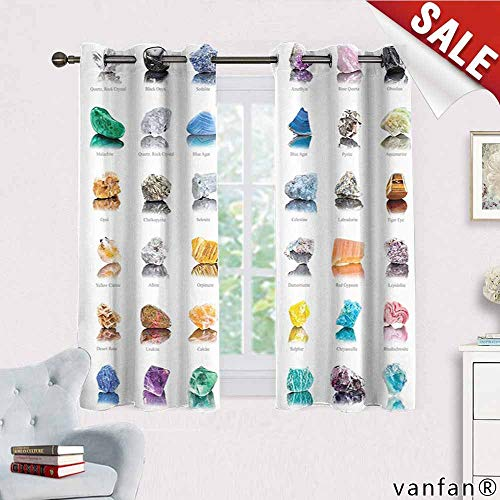 (Rocks Gemstones curtain mount,with Names Semi Precious Stones Magic Zen Chakra Home Fashion Modern for living room Dining Room ,White Black Purple Pink Green Blue Yellow Orange Teal W63