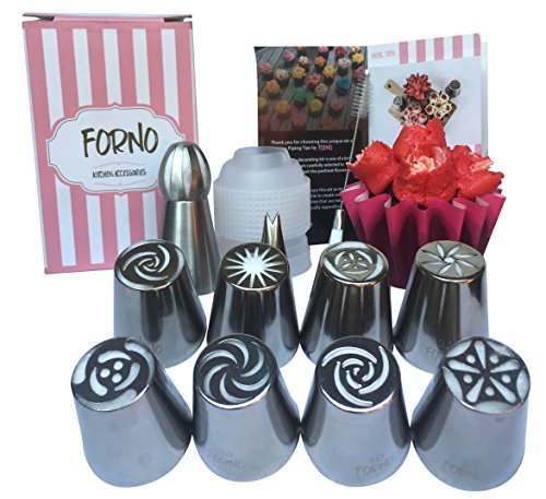 Unique Set of Russian Piping Tips by Forno 12 PIECE SET (8 Different Flower Nozzles + Matching COUPLER + Double Sided Cleaning Brush + Sphere Tip + Small Leaf Tip) Instruction Book Included (Ideas Regalos Para Halloween)