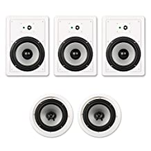 """Acoustic Audio CHT-825 1500 Watt In Wall / In Ceiling 8"""" Home Theater 5.1 Speaker System"""