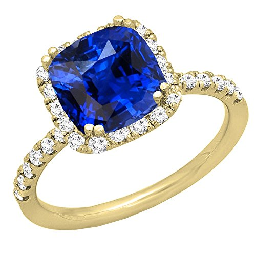 Dazzlingrock Collection 18K 7.5 MM Cushion Lab Created Blue Sapphire & Round Diamond Engagement Ring, Yellow Gold, Size 6.5
