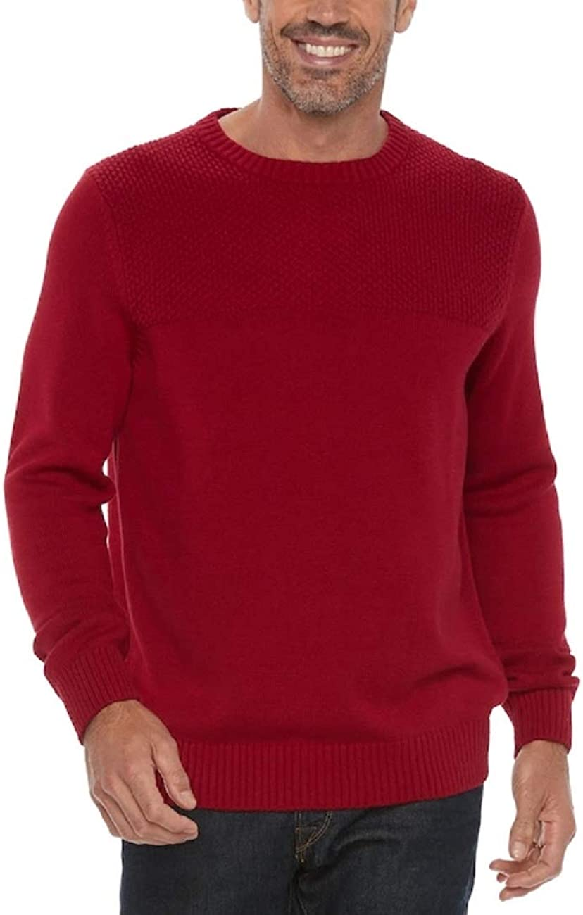 Croft & Barrow Men's Classic Fit Textured Yoke Crewneck