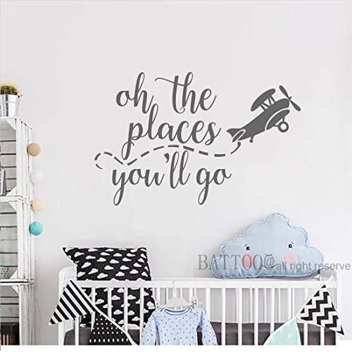 BATTOO Oh the places you'll go Airplane Wall Decals Playroom Wall Decal Kids Wall Art Nursery Wall Decal Airplane Wall Art Sticker, 16