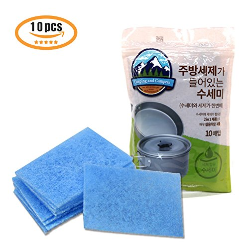 Pure 1st Class Detergent Dish Cleaner 10P for Outdoor and Camping - Detergent Included Scrubber Use on Fruit to Tableware