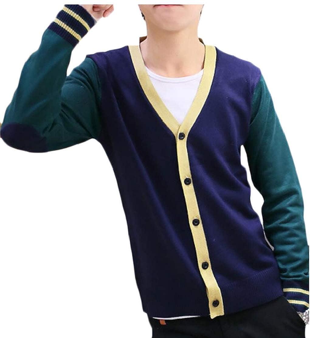 Alion Men Contrast Knit Slim Button Down V Neck Cardigan Sweater