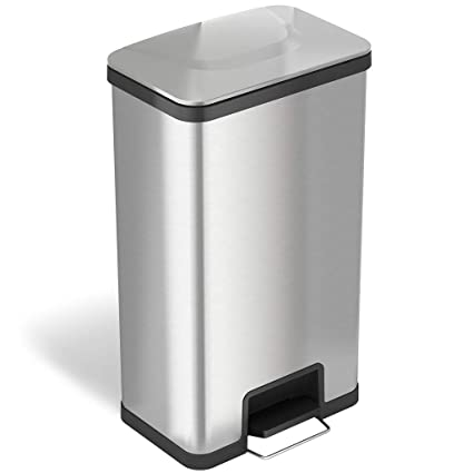 ITouchless SoftStep Stainless Steel Step Trash Can, Bathroom, Kitchen,  Office, Home (
