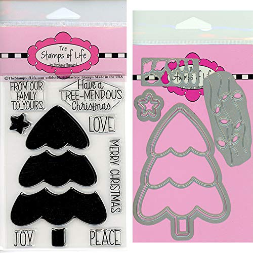 The Stamps of Life Christmas Tree Shape Patterns Stamp and Die Combo Pack for Card Making and Scrapbooking Supplies by Stephanie Barnard - Solids4ChristmasTree and Christmas Tree Die