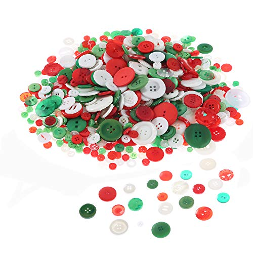 Efivs Arts 400g 2 and 4 Hole Sewing Flatback Resin Buttons for Christmas Sewing,Art & Crafts Projects DIY Decoration(Aapprox. 800 -