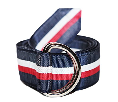Ribbon Belts for Men (S Selvedge Belt) Men's Belt D-Rings, Solid or Striped (Strap Ribbon Stripe)