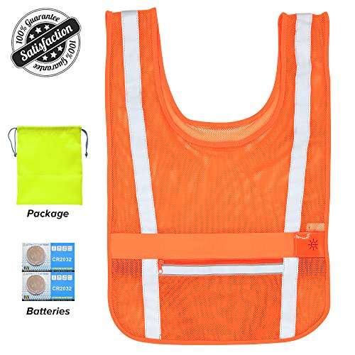 Clan-X Reflective Running vest with LED safety lights