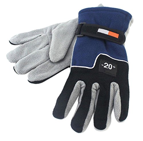 1 Pcs (1-Pair) Famed Popular Hot Men Thermal Warm Gloves Motorbike Outdoor Sports Ski Windproof Soft Feeling Color Blue