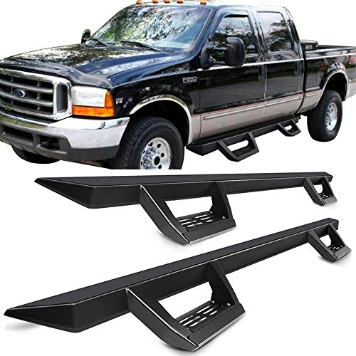 Running Boards Fits 1999-2016 Ford F250 Superduty Crew Cab | IKON V2 Style Black Steel Side Step Bar Nerf Bar by IKON MOTORSPORTS