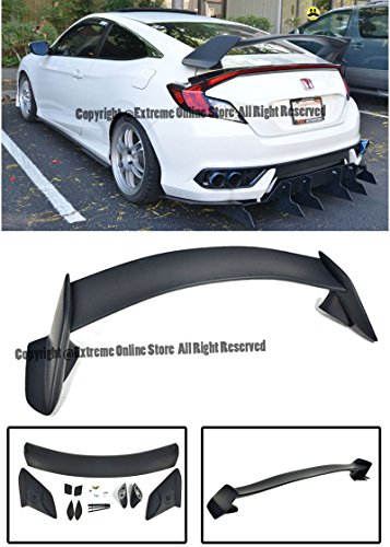 Honda Civic 2dr Type - Extreme Online Store Replacement for 2016-Present Honda Civic 2Dr Coupe | EOS JDM Type-R Style ABS Plastic Primer Black Rear Trunk Lid Wing Spoiler