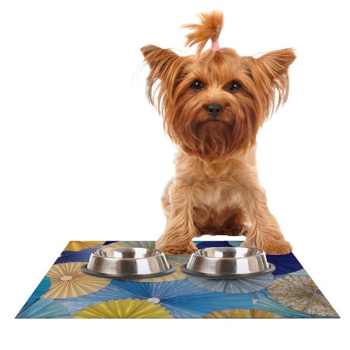 KESS InHouse Heidi Jennings Suspension  gold bluee Feeding Mat for Pet Bowl, 18 by 13-Inch