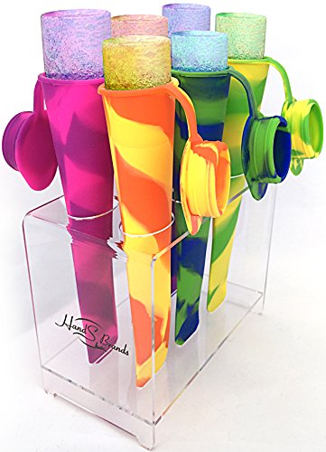 HealthPop Silicone Popsicle Molds with Attached Cap and Holder - Set of 6