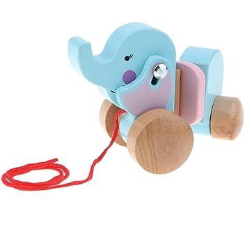 Sharplace Juguete de Elefante de Madera con Ruedas de Camina Cuerda de Tirón Juego de Diversión