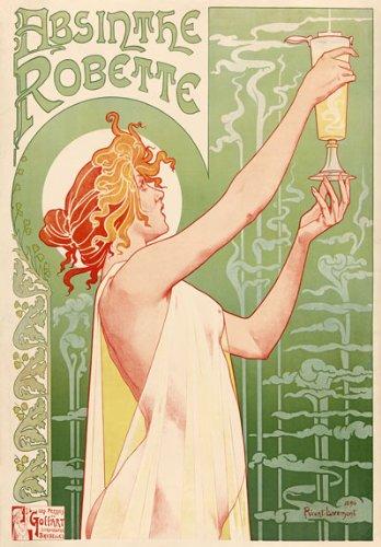 (AZ08 Vintage 1896 Absinthe Robette Liqueur Livemont Art Nouveau Advertisement Poster Re-Print - A1 (841 x 610mm) 33