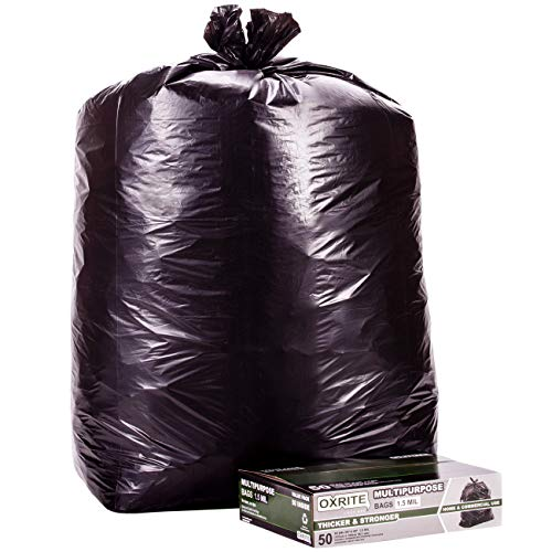 65 Gallon Trash Bags by OXRITE | Individually Folded, Heavy Duty Trash Bags, 1.5 Mil Thick, 50 Count, Black Garbage Bags