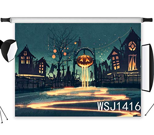 LB Halloween Photography Backdrop 9x6ft Polyester Fabric Halloween Pumpkin Lantern on The Empty Street Backdrop Halloween Party Decorations Photo Background,Seamless Washable