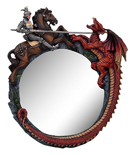 Martyr Saint George The Dragon Slayer Wall Mounted Mirror Plaque Decor 11.75'H by new