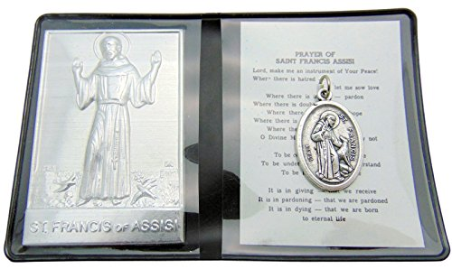 Saint Francis Prayer Folder Set with Two-Side St Francis & St Anthony Medal from Italy & Gift Bag (Folder Prayer)