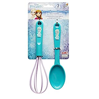 Zak Designs Lets Bake! Whisk and Spoon for Cooking with Kids, Princess Elsa