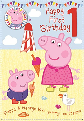 Amazon.com : Peppa Pig Happy 1st Birthday Card And Badge ...