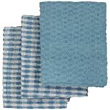 Lot de 3 torchons de cuisine - tissu éponge en coton - bleu/blanc