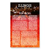 ILLINOIS FUN FACTS postcard set of 20 identical postcards. US state trivia post card pack. Made in USA.