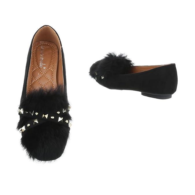 Damen Ballerinas | Slippers Velours | Kunst Fell Schuhe | Ballerina Schuhe  Slipper |Puschel Slipper Slip-Ons | Elegante Flats Partyschuhe | Schuhcity24:  ...
