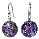 Venus Earrings - Nickel Smart - Pink & Purple Dichroic Glass Nickel Free Dangle Earrings