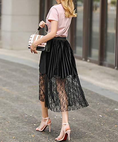 Longueur De Irrgulire Cheville Plage De La Femme Jupe Maille Noir Perspective Ywq5X0