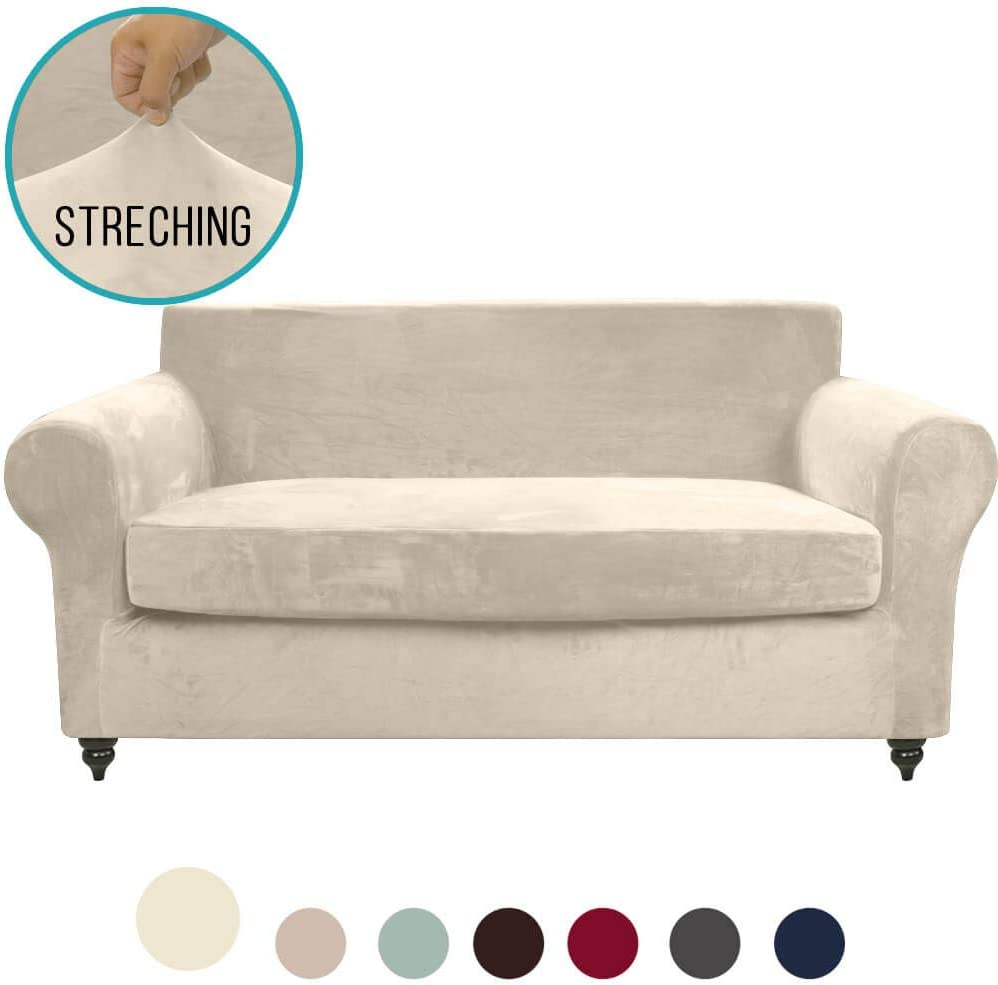 Amazon Com Moymo 2 Piece Stretch Velvet Loveseat Slipcover High Stretch Loveseat Cover Slipcovers For Couches And Loveseats Loveseat Slip Cover For Leather Loveseat Living Room Pets Dogs Child Loveseat Beige Home Kitchen