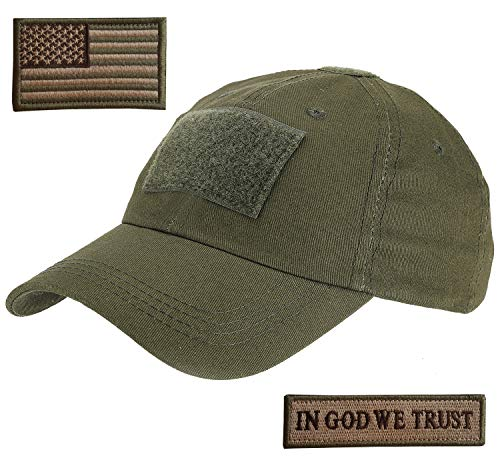 Lightbird Tactical Hat with 2 Pieces Military Patches, Adjustable Operator OCP US Flag Hats Cap (OD Green) (Tactical Hat With Patch)