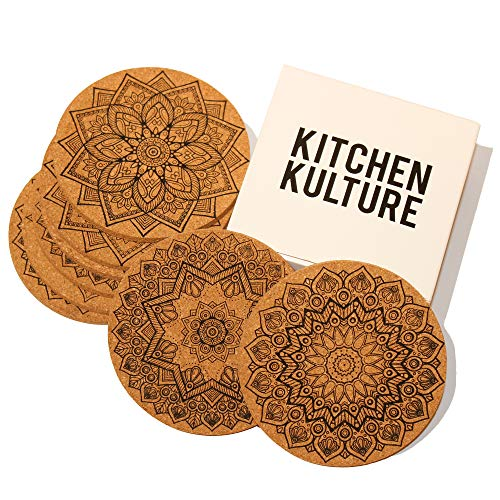 (Kitchen Kulture Cork Coasters for Drinks, Set of 8, Round 4 inches, Absorbent, Protects Furniture, Pattern Designs: Fractal / Geometric/ Mandala, Bar Size, Eco Material, Perfect for Holidays)