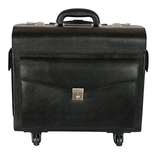 C Comfort Men's Leather 37 Liters Pilot Trolley Bag One Size Black - Pilot Trolley
