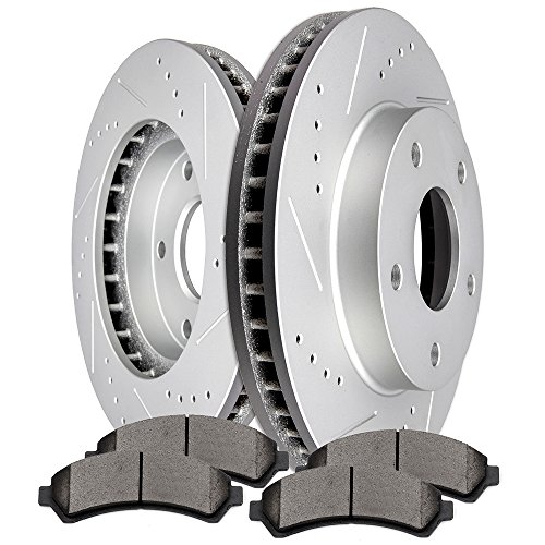 Brake Disc Chevrolet S10 (SCITOO Brake Kits, 2pcs Slotted Drilled Brake Discs Rotors and 4pcs Ceramic Disc Brake Pads Brakes Kit fit Chevrolet Blazer,Chevrolet S10,GMC Jimmy,GMC Sonoma, Oldsmobile Bravada,Front)