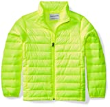 Amazon Essentials Boys' Lightweight Water-Resistant Packable Puffer Jacket, Neon Yellow, Medium