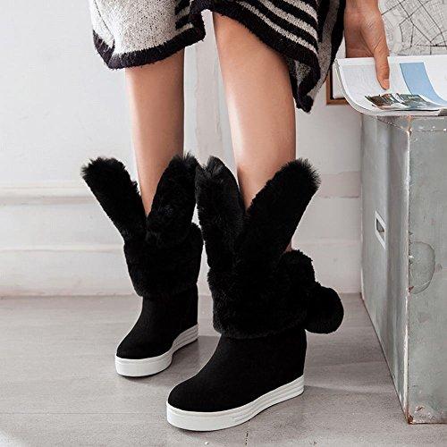 Charm Foot Mujeres Sweet Pompon Hidden Heel Plataforma De Tacón Alto Botas De Nieve Negro