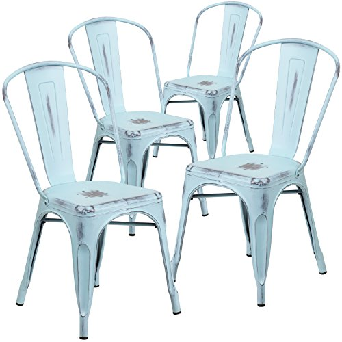 Flash Furniture 4 Pk. Distressed Green-Blue Metal Indoor-Outdoor Stackable Chair - Distressed Dining Room Furniture