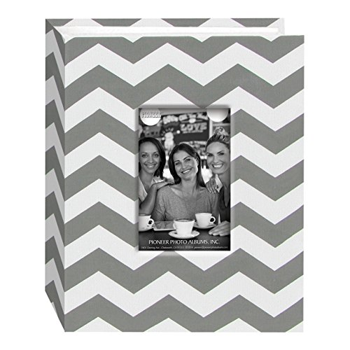 Pioneer Photo Albums CHEV-100 Chevron Fabric Frame Photo Album with 100 Pockets Hold, 4 x 6, Gray/White
