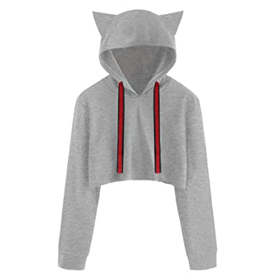 SPORTTIN Women's Cropped Hooded Pullover Cropped Solid Drawstring Loose Sweatshirt Tops: Clothing