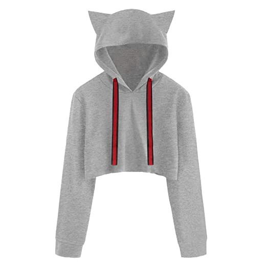 Amazon.com - Hots!!! Teresamoon Women Cat Long Sleeve Hoodie Sweatshirt Hooded Pullover Short Tops Blouse - China Cabinets