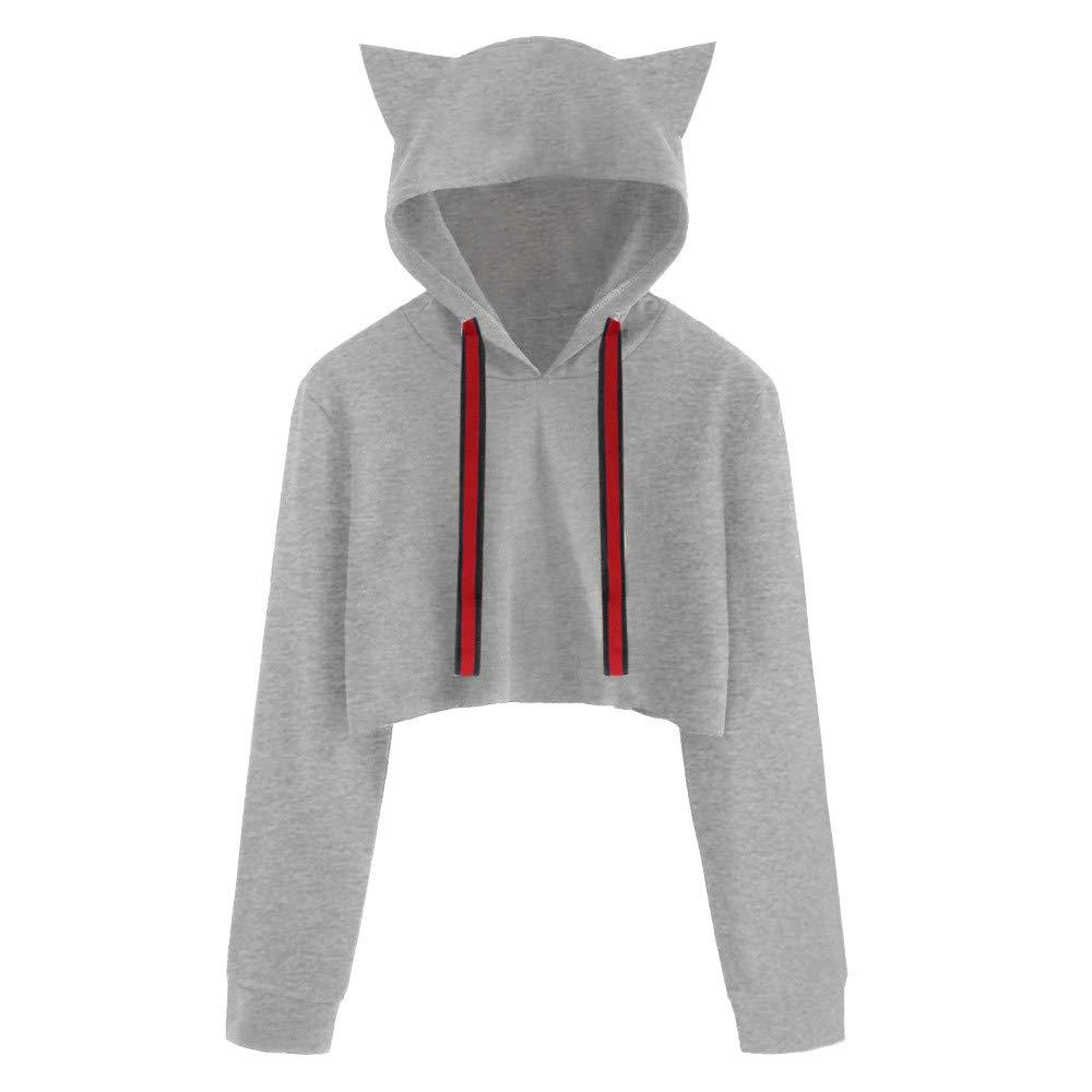 Inkach Women Crop Top Hoodies Cat Ear Long Sleeve Drawstring Hooded Sweatshirt Pullover Blouse Inkach - womens hoodies IN-1