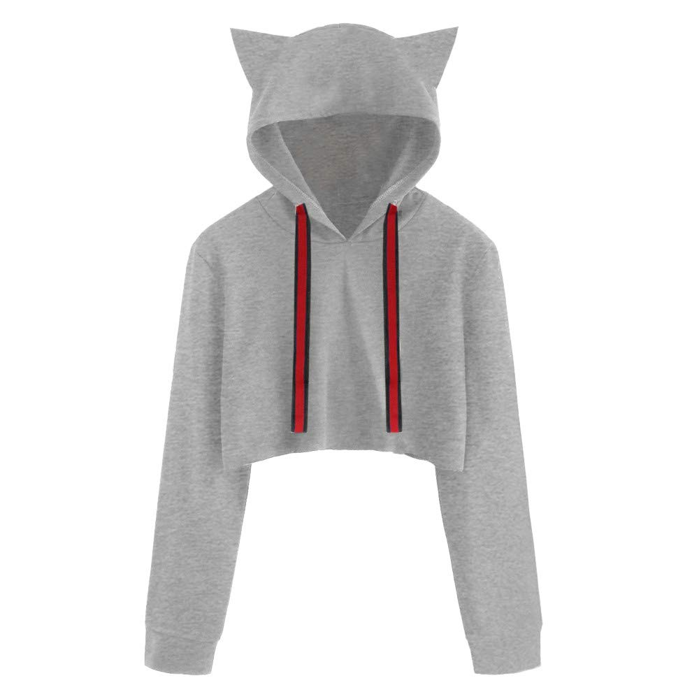 LandFox for Teen Girls On Clearance,Women's Clothing,Women Cat Long Sleeve Hoodie Sweatshirt Hooded Pullover Short Tops Blouse GY/S,Gray,S